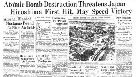 The first atomic bomb was dropped by the United States on Hiroshima Aug. 6, 1945, near the end of World War II. A second bombing followed against Nagasaki on Aug. 9. The two bombings remain the only two times nuclear weapons were used for warfare.