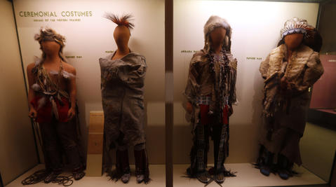 Different tribal clothing of some of the Native American tribes on display in the Great Lakes exhibit at the Field Museum.