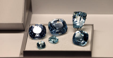 Blue topaz in the Grainger Hall of Gems at the Field Museum.
