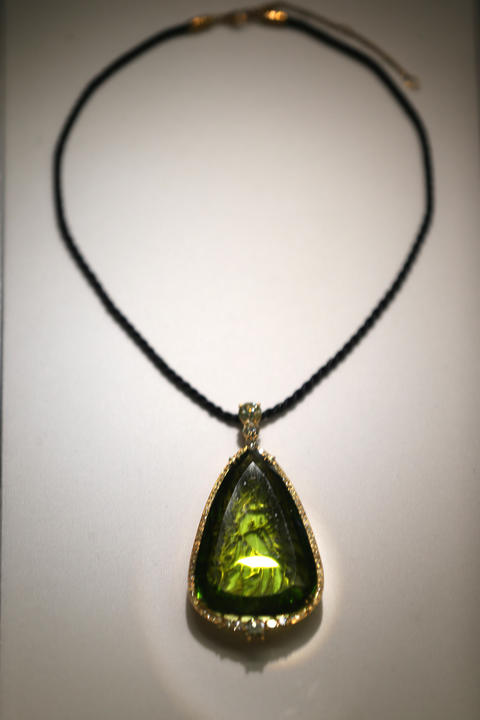 A 154 carat peridot pendant in the Grainger Hall of Gems at the Field Museum.