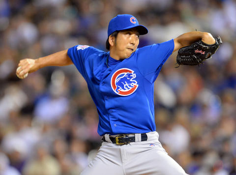 Cubs relief pitcher Kyuji Fujikawa delivers in the sixth inning.