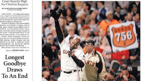 Barry Bonds hit his 756 home run on Aug. 7, 2007, passing the all-time career home run record set by Hank Aaron in 1976. Bonds was not resigned by the Giants and didn't get a contract with another team, so his career ended after the 2007 season.
