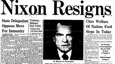 With the potential for impeachment over the Watergate scandal looming, President Richard Nixon announced his resignation on Aug. 8, 1974, effective the next day at noon. Vice President Gerald Ford would be sworn in as president.