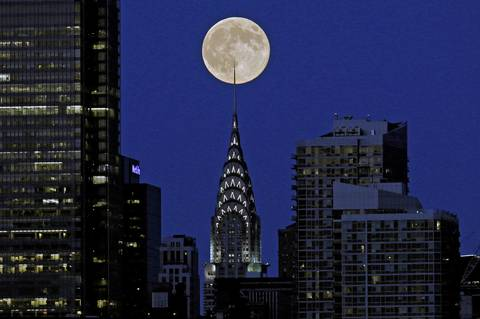 A supermoon behind the Chrysler Building in New York City.
