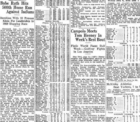 On Aug. 11, 1929, Babe Ruth became the first major league baseball player to hit 500 home runs. Ruth would go on to hit 714 home runs before he retired in 1935 and held the record until Hank Aaron broke it in 1974.