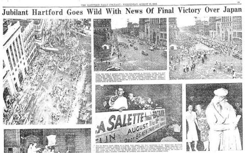 The Japanese surrendered to the Allied forces on Aug. 14, 1945, bringing World War II to an end. In Hartford, and around the country, people poured into city streets to celebrate the end of the war.