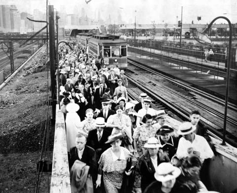 Every means of transportation was used to get to the Chicagoland Music Festival at Soldier Field in 1938. These people took the Randolph streetcar.