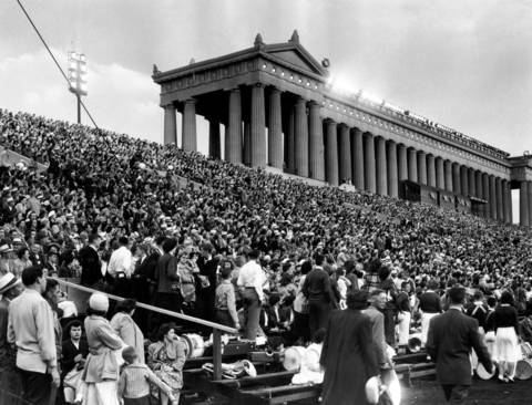 An early crowd gathers at the Chicagoland Music Festival on Aug. 19, 1950 at Soldier Field in Chicago.