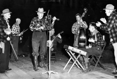 The Great Lakes Lumberjacks' band from Mount Pleasant, Mich., plays at the Chicagoland Music Festival at Soldier Field on Aug. 23, 1952. The groups north woods melodies were one of the hits of the festival.