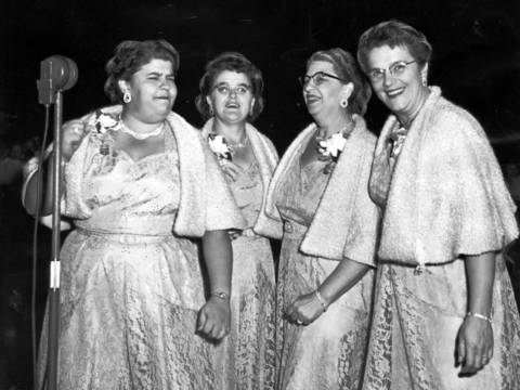 The international Sweet Adeline Barber Shop chorus champions from Chillicothe, Ill., named The Big Four, sang at the Chicagoland Music Festival on Aug. 21, 1954, at Soldier Field. The group, who consisted of Inez Thompson, from left, Lucille Miller, Bertha Bradley, and Sarah Le Master, got their name because each woman weighed at least 200 pounds, according to the Tribune.