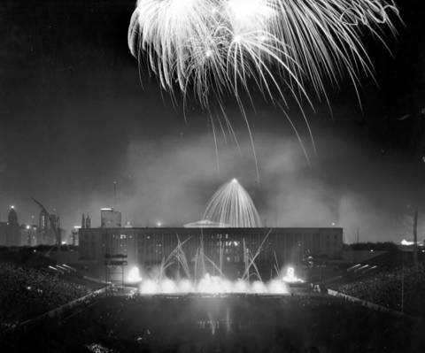 The sky over Soldier Field is illuminated in a brilliant fireworks display, marking the close of the 30th Chicagoland Music Festival in 1959.