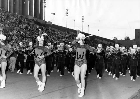 Drum majorettes from Davenport, Iowa's West High School concert band lead the group as it enters Soldier Field for the 34th annual Chicagoland Music Festival on Aug. 17, 1963.