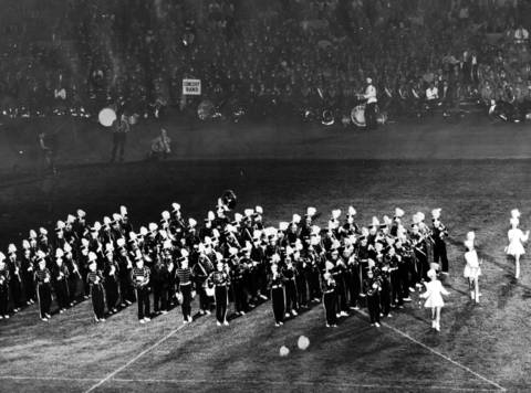 One of the highlights of the 1957 Chicagoland Music Festival was the apperance of the Cloquet, Minn., high school marching band, a nationally famous musical organization.