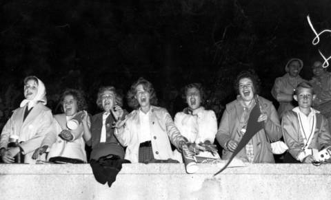 Girls scream from the stands at Soldier Field for Frankie Avalon at the Chicagoland Music Festival held on Aug. 19, 1961.