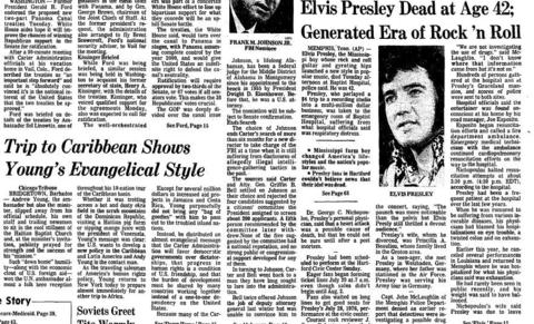 Five days before he was scheduled to perform at the Hartford Civic Center, Elvis Presley died Aug. 16, 1977, at the age of 42. Presley died in Memphis, Tenn., from a massive heart attack according to the coroner.