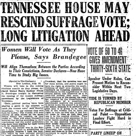 On Aug. 18, 1920, Tennessee ratified the 19th Amendment to the Constitution - which guarantees women the right to vote - giving it the two-thirds state majority needed to make it a law.