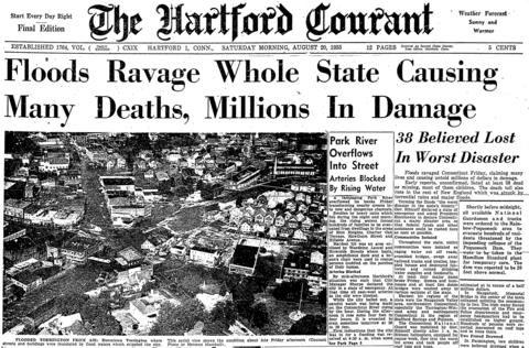 Back-to-back hurricanes - Connie on Aug. 13, 1955 and Diane on Aug. 18, 1955 - dropped almost 20 inches of rain in Connecticut causing rivers across the state to breach their banks. More than 90 people were killed and thousands of homes and business were destroyed. Damage was estimated at almost half a billion dollars.