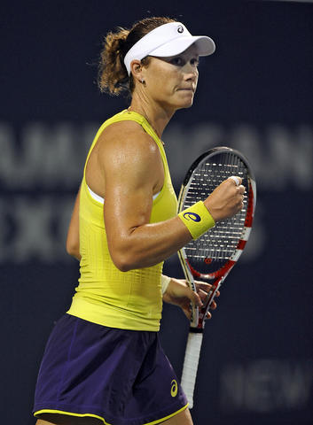 Samantha Stosur (AUS) pumps her fist after quickly dispatching Eugenie Bouchard (CAN) in straight sets 6-2, 6-2 on day four of the 2014 Connecticut Open Tennis Tournament at the Connecticut Tennis Center on the Yale campus in New Haven Wednesday evening.