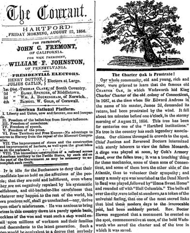 "The Courant reported Aug. 22, 1856: ""Our whole community, old and young, rich and poor, were grieved to learn that the famous old Charter Oak, in which Wadsworth his King Charles' Charter of the old colony of Connecticut in 1687, at the time when Sir Edward Andross in the name of his master, James 2d, demanded its return, had been prostrated by the wind."""
