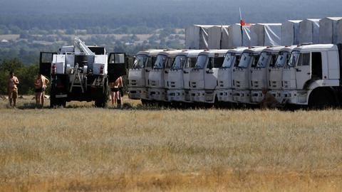 A Russian convoy of trucks carrying humanitarian aid for Ukraine is parked at a camp near Donetsk, Rostov Region.