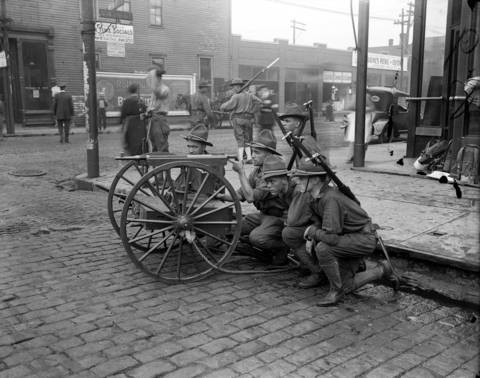 The state militia hold their ground at 47th and Wentworth Avenue during Chicago's race riot of 1919.
