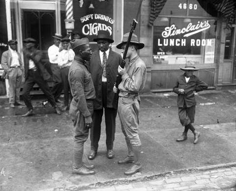The state militia was called in to quell the violence on the south side of Chicago during the 1919 race riots.