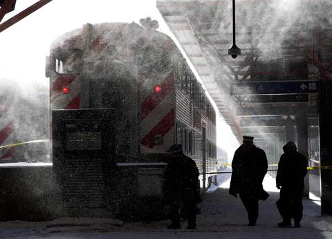 Metra employees experience subzero temperatures at the LaSalle Street station in Chicago.