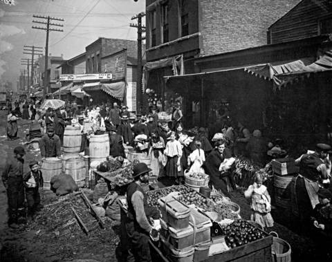 In the late nineteenth century, Jewish immigrants started a produce market on Maxwell Street where it crosses Halsted Street. Over the years, Maxwell Street, shown here in about 1905, grew into a vast Sunday-morning flea market. The market moved east to Canal Street in 1994, when the Maxwell Street area was bought by the University of Illinois at Chicago.