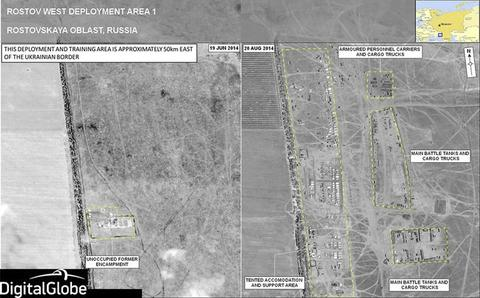 A combination satellite image taken by DigitalGlobe on June 19, 2014 and August 20, 2014 shows what is reported to be a military deployment site on the Russian side of the border, near Rostov-on-Don.