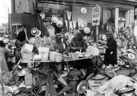 Hubcaps, rakes, brooms, shovels and more can be found at Maxwell Street's open-air market on Feb. 3, 1974.