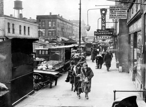 The Maxwell Street market, looking toward Halsted Street, on Nov. 21, 1935, after city officials forced merchants to clear the sidewalks of their wares. They were still allowed to use the street.