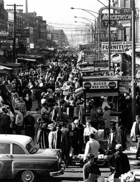 An undated photo of the Maxwell Street Market at the height of its popularity.