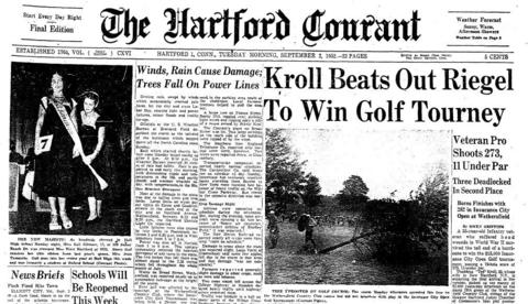 Ted Kroll, a World War II veteran, won the inaugural Insurance City Open Golf tournament - most recently known as the Travelers Championship - on Sept. 1, 1952. Kroll played through the remnants of Hurricane Able at the Wethersfield Country Club to win the $15,000 purse.