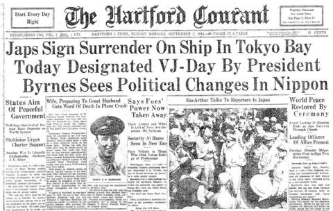 On Sept. 2, 1945, representatives from Japan formally surrendered their empire to the Allies in Tokyo Bay, Japan, aboard the battleship USS Missouri. Foreign Minister Mamoru Shigemitsu signed first, representing the Japanese government. General Douglas MacArthur signed for the United States. Other signers included representatives from China, the United Kingdom, Russia, Australia, Canada, France, the Netherlands and New Zealand.