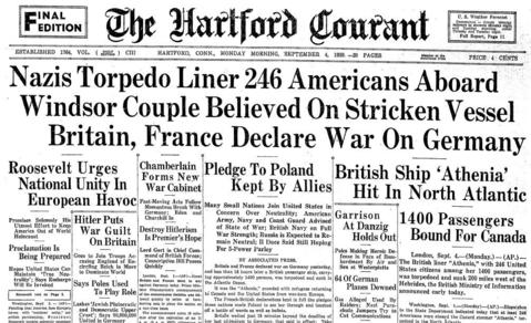 On Sept. 3, 1939, a Nazi submarine torpedoed the British passenger ship SS Athenia, which departed Glasgow on Sept, 1, 1939 on its way to Montreal. The ship was unarmed and carrying more than 1,400 passengers, including 246 Americans, at least 6 from Connecticut. The Connecticut residents - from Hartford and Windsor - survived the sinking, but more than 110 passengers and crew were killed. The Athenia was the first British ship sunk by the Germans in World War II.