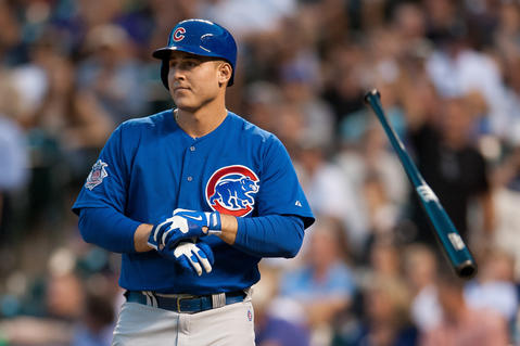 Anthony Rizzo flips his bat after striking out in the fifth inning.
