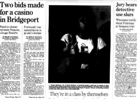 On Sept. 5, 1995, the Hartford fronton, which had live Jai Alai for more than 19 years and employed almost 200 people, closed. Bridgeport's fronton has shut its door just before Hartford, and the third and last Connecticut fronton, in Milford, was gone by late 2001.