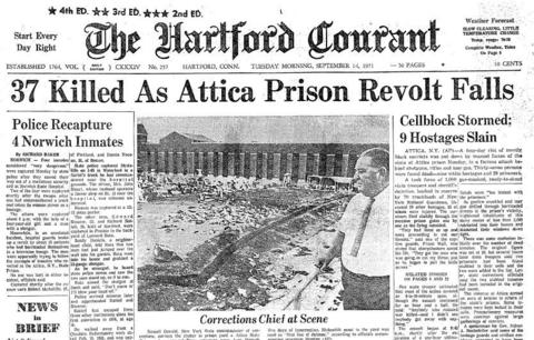 Four days of rioting at New York's Attica Prison started Sept. 9, 1971. Prisoners took 38 people hostage. The uprising would end when police moved in on the prison on Sept. 13, 1971. The ensuing battle left nine hostages and 28 prisoners dead.