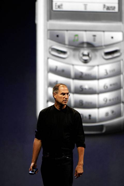 Apple CEO Steve Jobs introduces the new iPod cell phone, made by Motorola at the Moscone Center in San Francisco. This was the first cellphone that had iTunes on it.