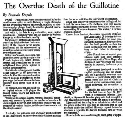 Hamida Djandoubi was executed by guillotine in France on Sept. 10, 1977, convicted of the torture and murder of a girl. France abolished capital punishment in 1981, making him the last person executed using the method.