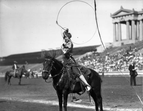 Dorothy Bardoleat at Chicago's third annual World Championship Rodeo held Aug. 1927 at Soldier Field. The Tribune reported that more than 350,000 visitors had witnessed the nine-day rodeo, which started on Aug. 20 and ended on Aug. 29.