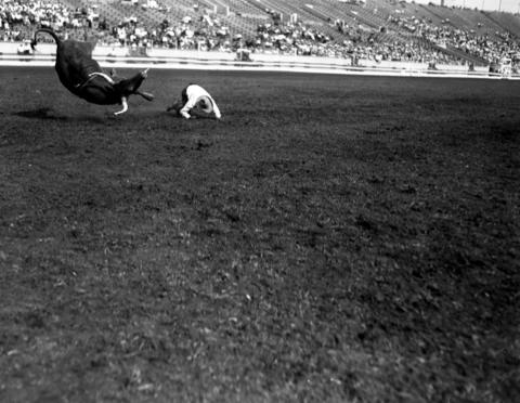 C. J. Henley at Chicago's fourth annual World Championship Rodeo held at Soldier Field in 1928.