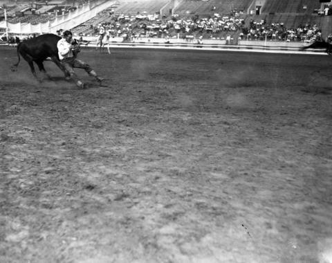 Blackie Russell at Chicago's fourth annual World Championship Rodeo in 1928.