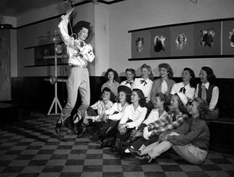 Toni Berry swings her rope with others at the Rodeo Queen eliminations at Patricia Stevens Model Studio in July 1947. Back row, from left: Mary Lou Kackert, Marcella Eisele, Marcella Loe, Margaret Ann Rhodes, Dee Steffens and Mary Lynn. Front row, from left: Mary Lou Piper, Betty Frost, Dolores Baiel, Jean Kolt, Shirley Oksnee and Fran Walton.