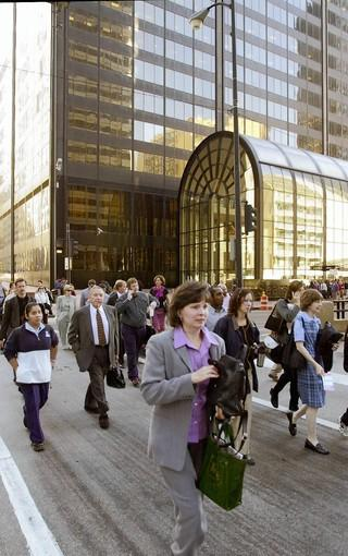 Employees empty out of the Sears Tower Tuesday morning about 9 a.m. after news spread of the terrorist attack.