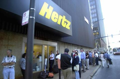 The line outside Hertz rental car's office on State Street was about two blocks long after the news of terrorist attacks on the East Coast shut down many forms of transportation.
