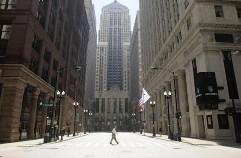 Deserted district: Looking south toward the Chicago Board of Trade building on Sept. 11, LaSalle Street is nearly empty after banks and exchanges closed. When the markets reopened on Sept. 17, the Dow Jones industrial average plunged 684 points, the largest point drop in history but not the largest percent decline.