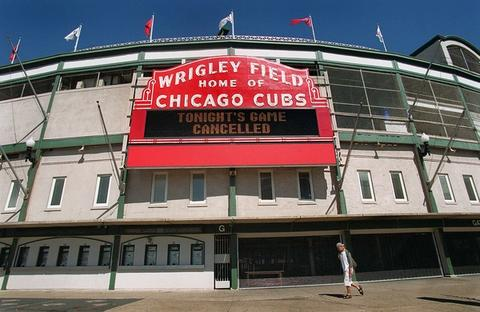 The marquee at Wrigley Field says it all after Bud Selig postponed all 15 major league games following the New York terrorist attacks Tuesday.