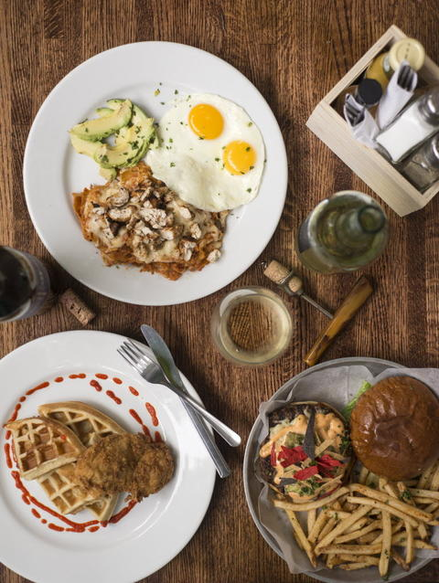 Fried Chicken and Waffles, Chilaquiles and the House Burger at Whisk Chicago, 2018 W. Chicago Ave. in Ukrainian Village.