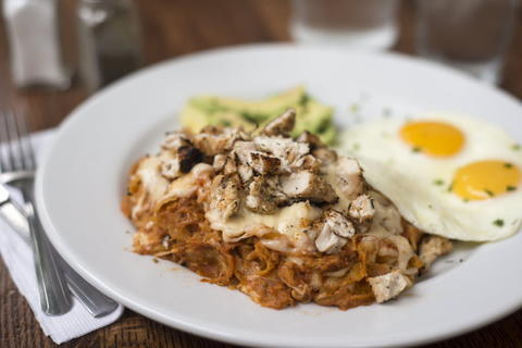 The Chilaquiles with homemade salsa, grilled chicken and Chihuahua cheese at Whisk Chicago, 2018 W. Chicago Ave. in Ukrainian Village.